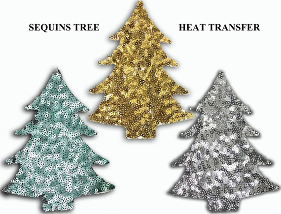 Christmas Tree Patch Applique With Sequins For Sew On Or