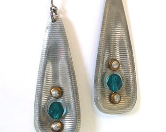 Silver Aluminum Teal Glass Long Drop Dangle Handmade Earrings - 10th Anniversary Gift for Her - Original Design Spinning Bead Collection