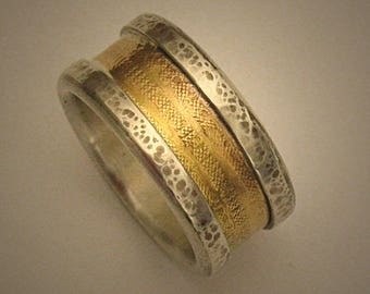 Mens Wedding Band, Gold Silver Band, Gold Wedding Band, Rustic wedding band, Gold Promise Ring, Hammered Gold Ring - READY TO SHIP