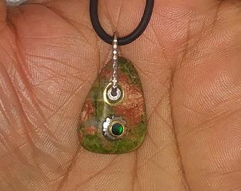 Unakite & Emerald pendant necklace - Unakite Green Stone tumbled pendant - Boho Style - Mothers day jewelry gift - hippie  jewelry