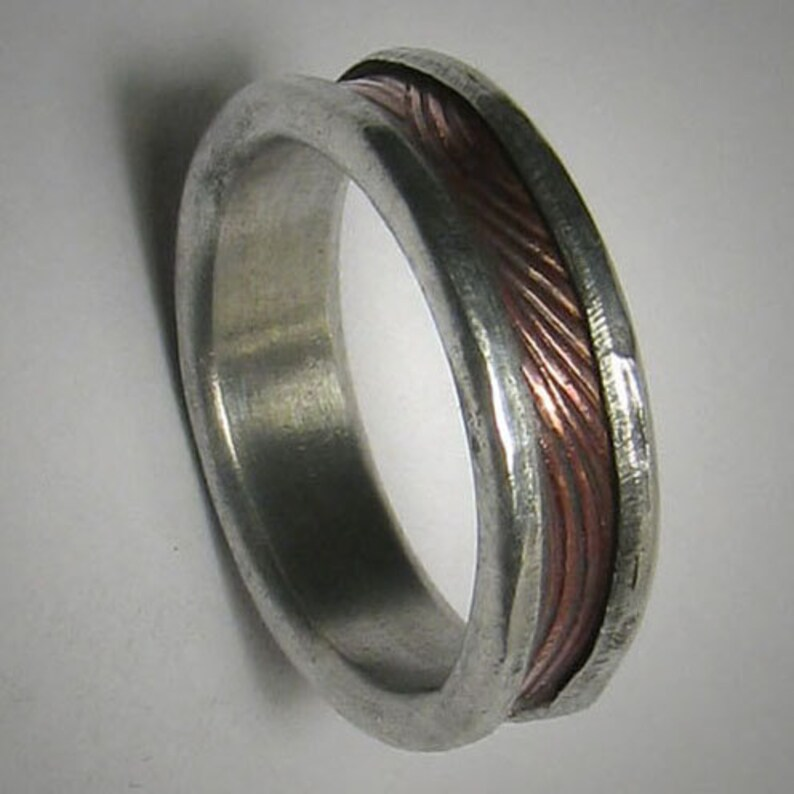 Rustic Mens Ring Mens wedding band Promise Ring Rose Gold and image 0