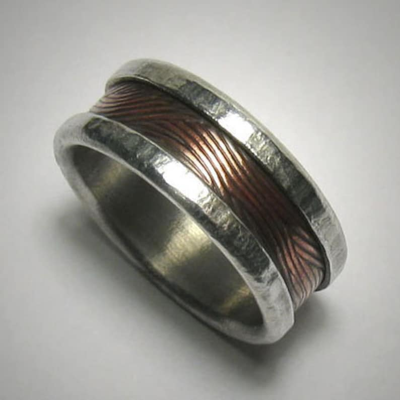 Rustic Mens Ring Mens wedding band Promise Ring Hammered Ring image 0