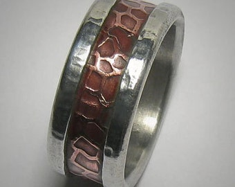 Mens wedding band Rustic Mens Ring Promise Ring Hammered Ring Copper and Silver Mens wedding Ring Unique Mens Ring Rustic Ring