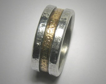 Mens wedding band Rustic Mens Ring Promise Ring Hammered Ring Yellow Gold and Silver Mens wedding Ring Unique Mens Ring Rustic Ring