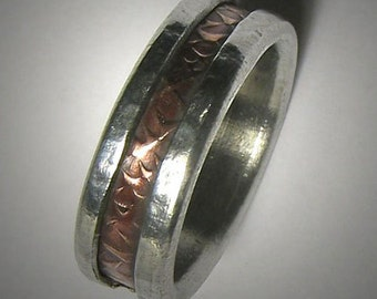 Mens wedding band Rustic Mens Ring Mens wedding ring Promise Ring Hammered Ring Rose Gold and Silver Mens wedding Ring Unique Mens Ring