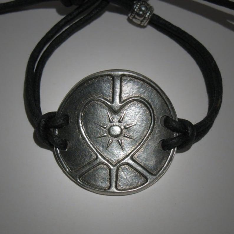 Peace Sign Love Sign Interfaith Multifaith Art Bracelet image 0