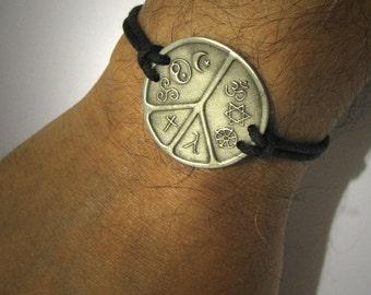 Interfaith jewelry Multifaith Jewelry Coexist World Peace Symbol Bracelet Hindu Jewish Buddhist Gay Lesbian Christian Pagan