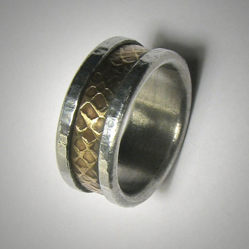Mens wedding band Rustic Mens Ring Promise Ring Hammered Ring image 0