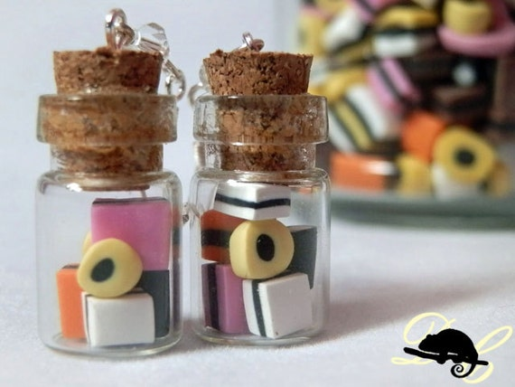 Dolly Mixture Candy Jar Charm Pendant Liquorice Allsorts Vial, Sweet Retro