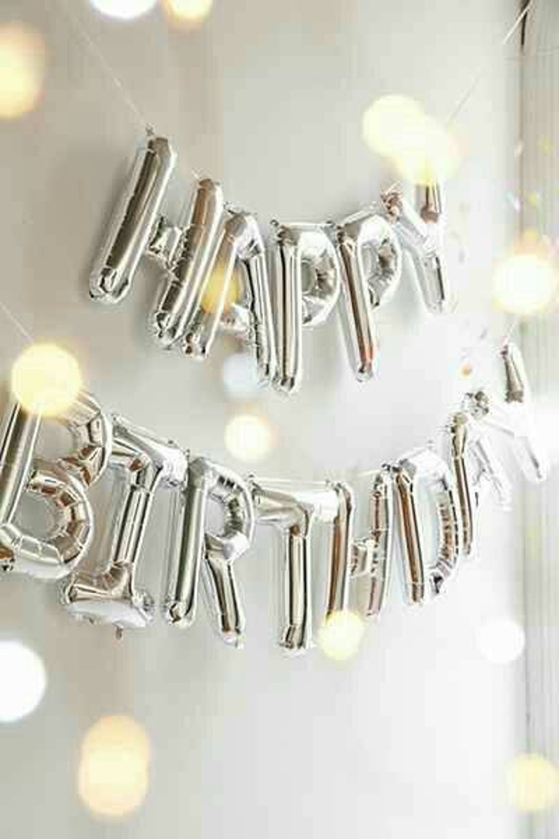 Silver Happy Birthday Foil Balloons Air Fill 16inches