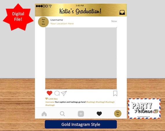 Custom Instagram Frame in Gold Photo Booth Prop Instagram Prop | Etsy
