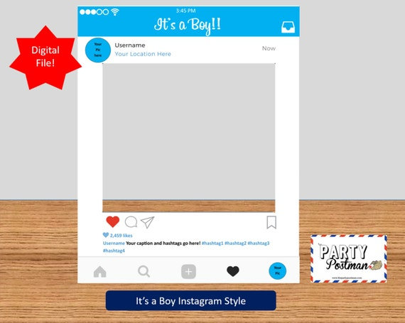 Custom baby boy Instagram Frame Photo Booth Prop Instagram | Etsy