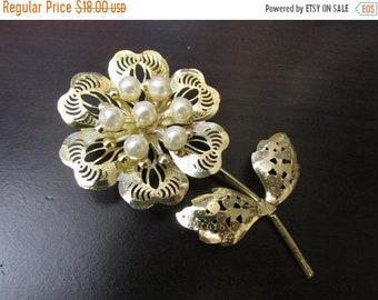 b29058856 75% OFF Vintage Gold Tone Filigree Faux Pearl Delicate Stemmed Flower Brooch
