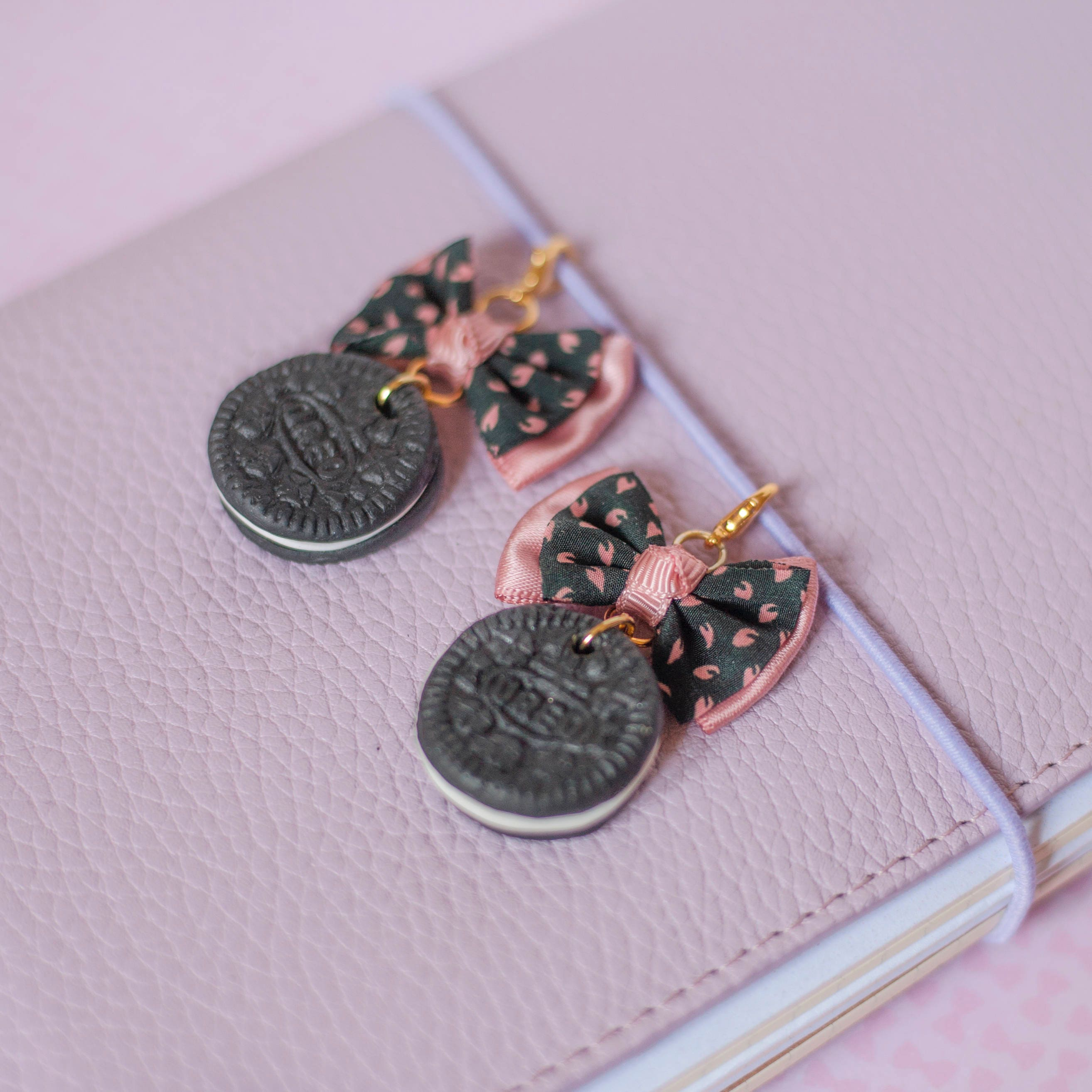 Pink and Black Planner Charm Oreo Planner Charm Midori