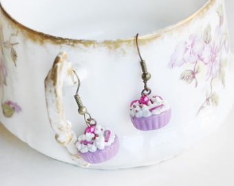 Dangle earrings, white, purple, pink and white cupcake, polymer clay / fimo
