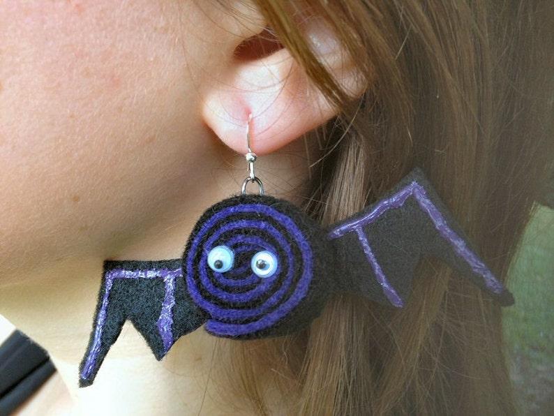 Purple & Black Fuzzy Bat Earrings for Halloween image 0