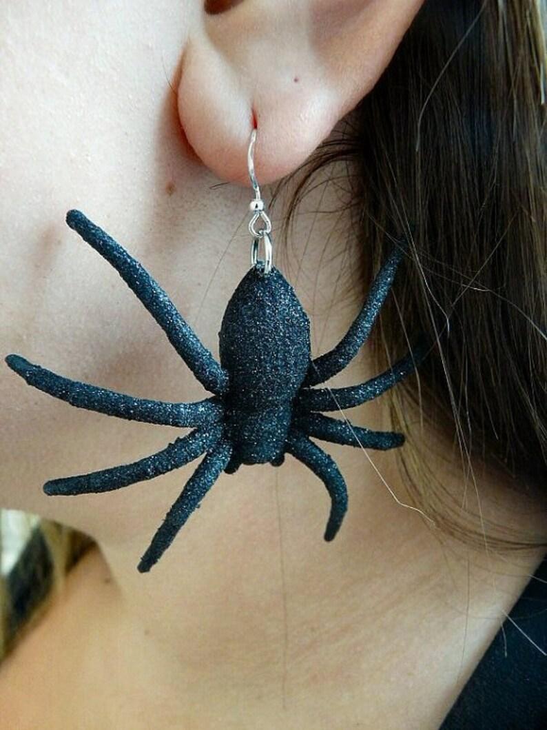 Glitter Black Spider Earrings image 0
