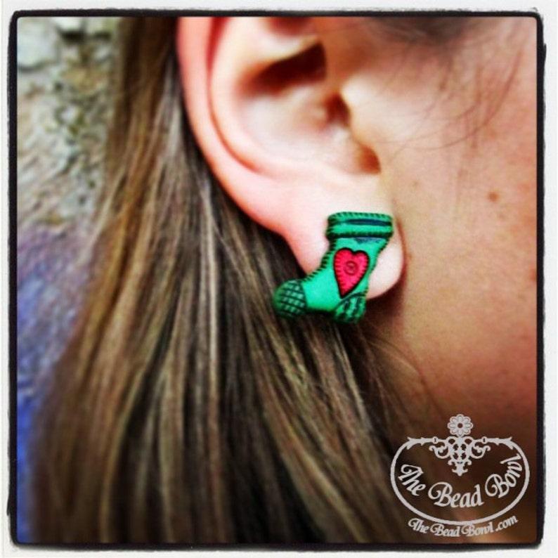 Green & Red Christmas Heart Stocking Earrings image 0