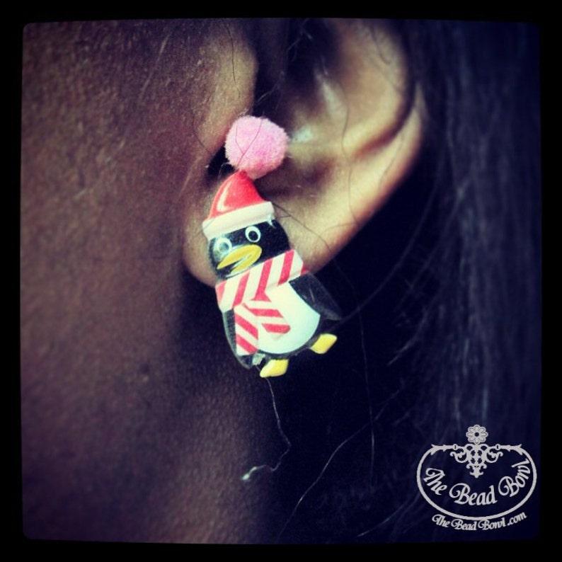 Scarved Penguin Earrings image 0