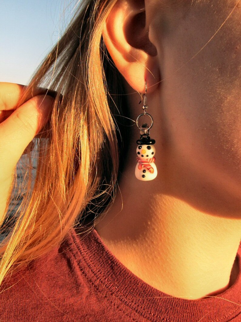 Glass Snowman Earrings image 0