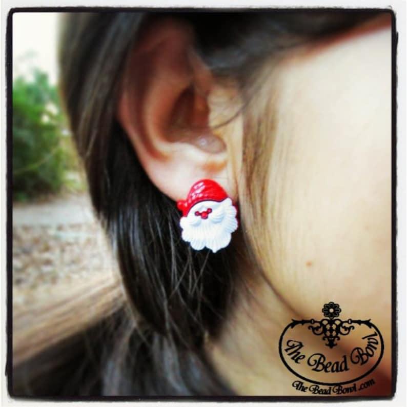 Santa Claus Christmas Post Earrings image 0