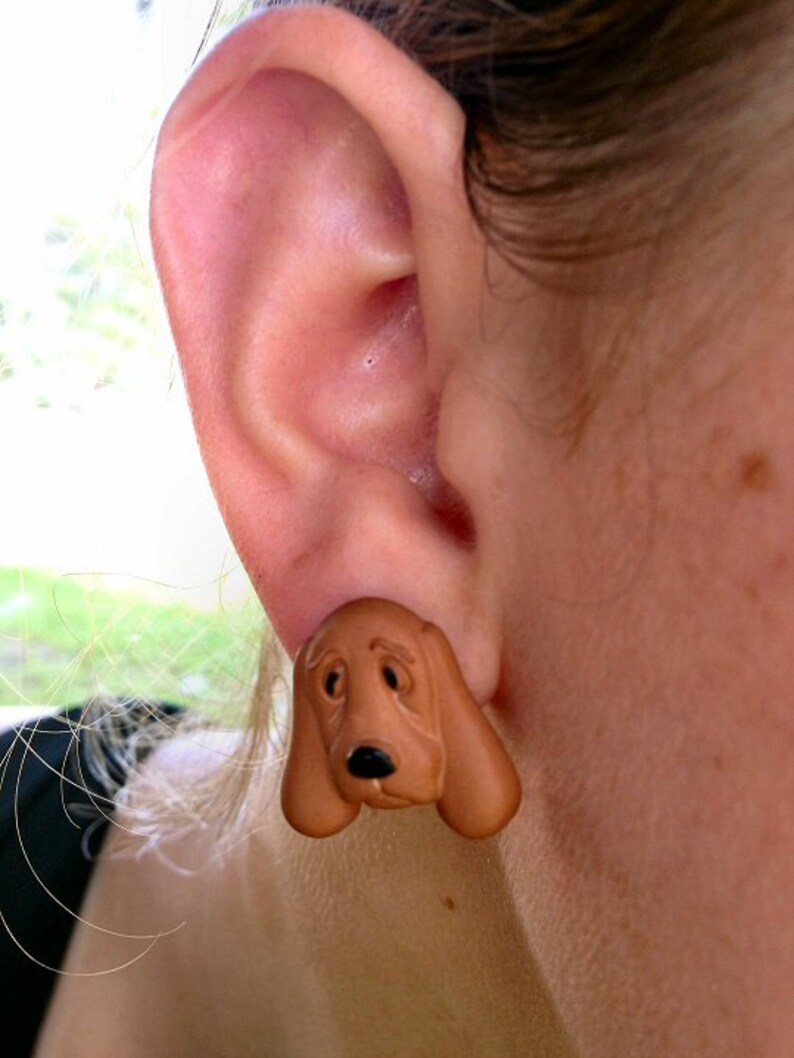 Brown Basset Hound Dog Post Earring image 0
