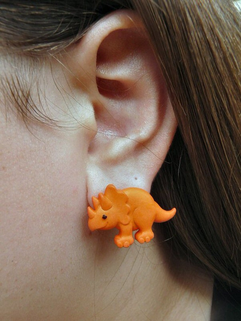 Orange Triceratop Earrings image 0