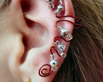 Elegant Ear Cuff (Red, Clear, & Silver)
