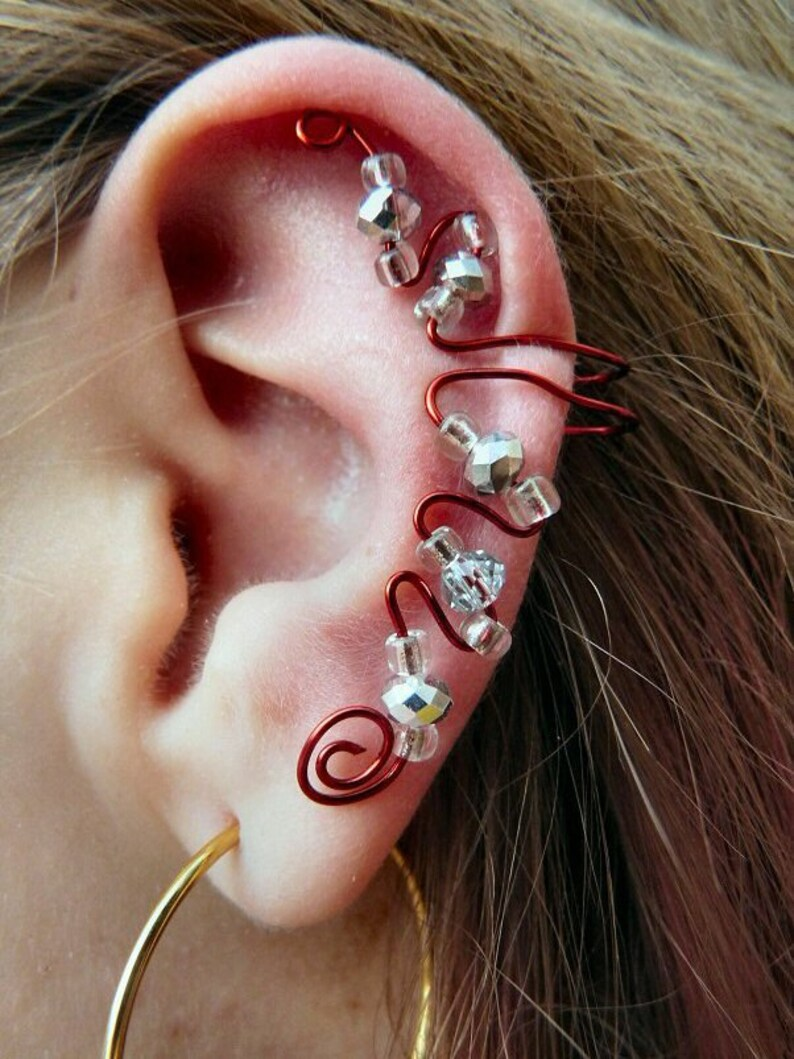 Elegant Ear Cuff Red Clear & Silver image 0