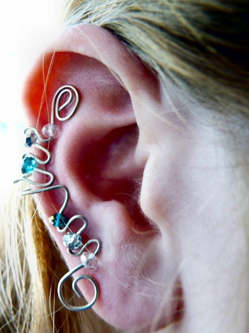 Elegant Ear Cuff Blue Silver & Chrystal image 0