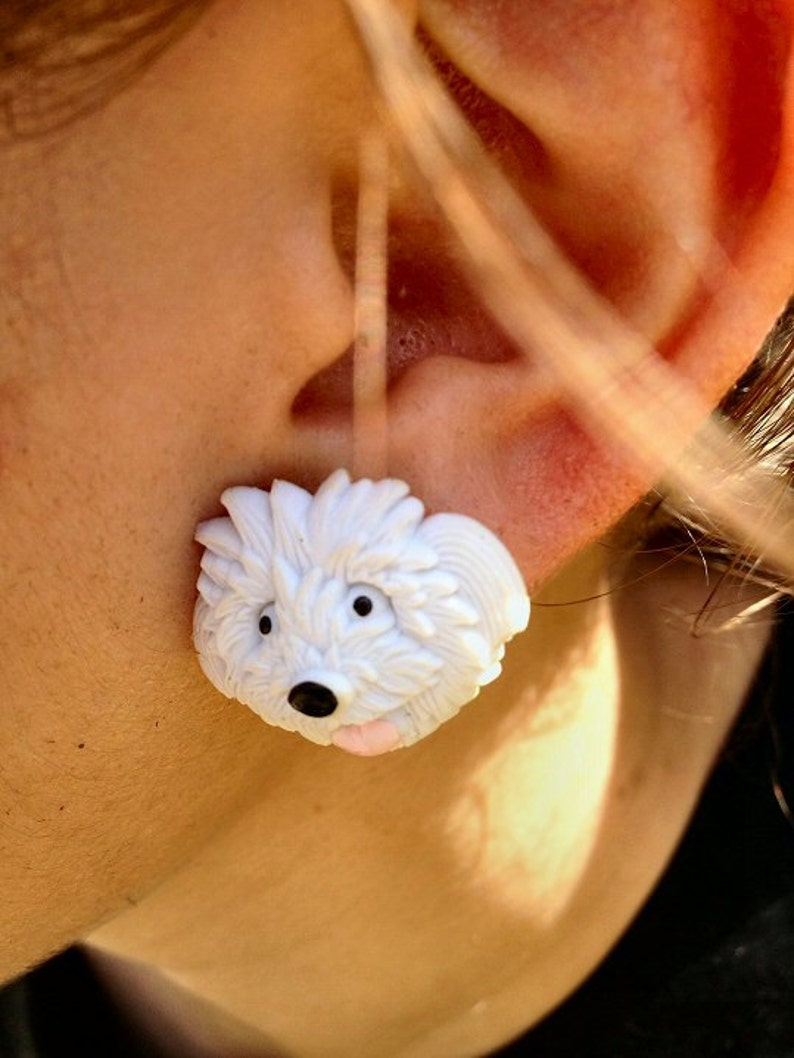 White Fluffy Dog Post Earring image 0