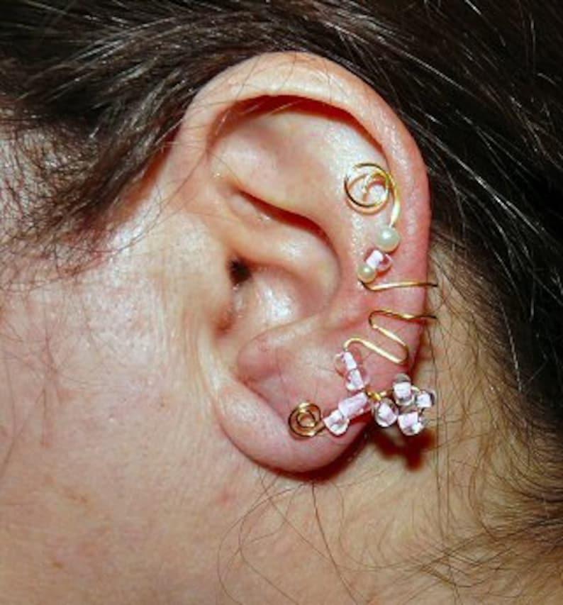 Pink Breast Cancer Ribbon Ear Cuff image 0