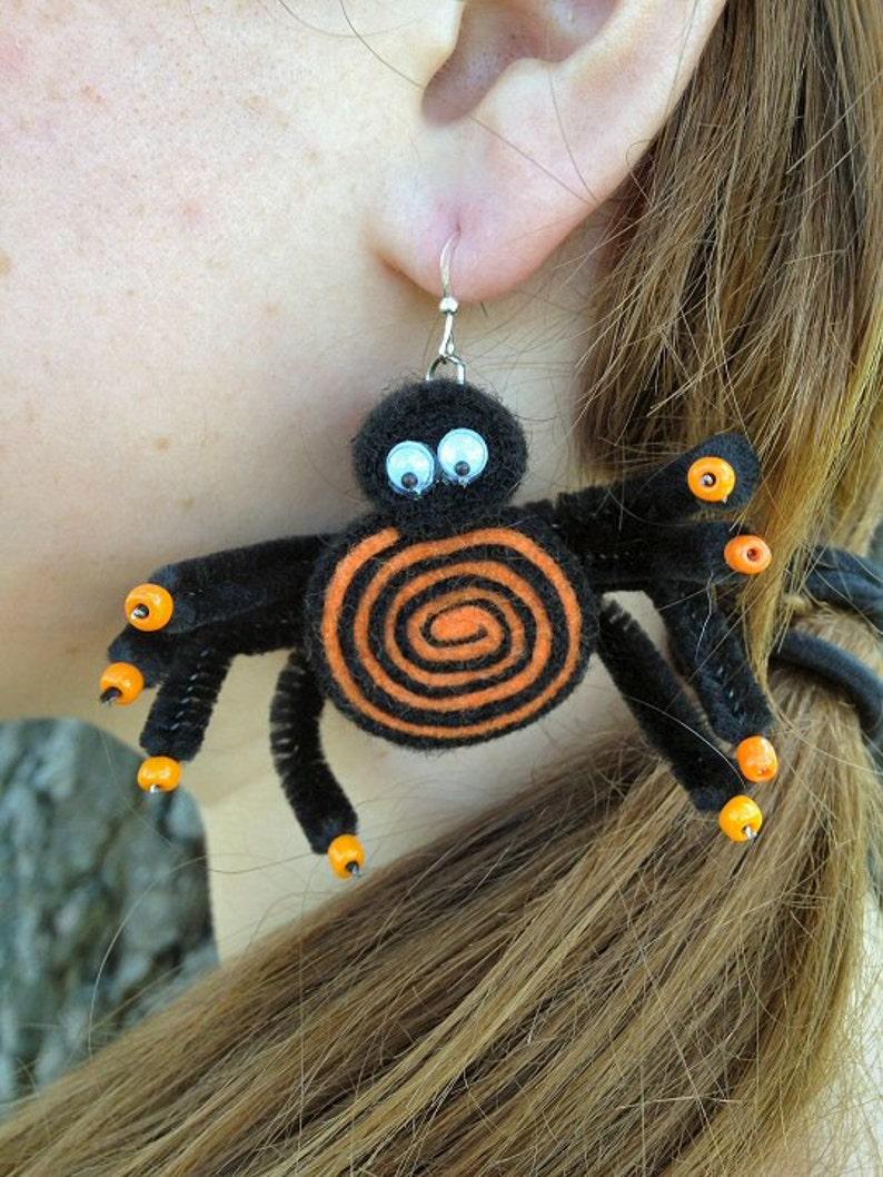 Orange & Black Fuzzy Spider Earrings for Halloween image 0