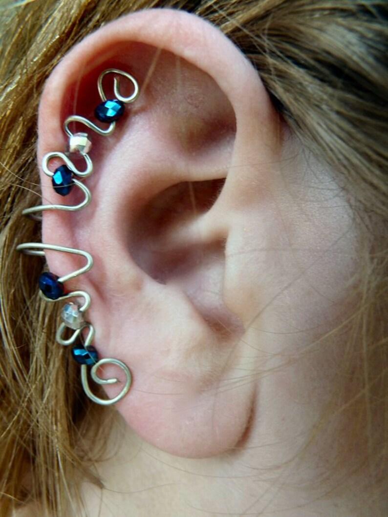 Elegant Ear Cuff Blue & Silver Swarovski image 0