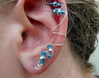 Elegant Ear Cuff (Turquoise & Silver Swarovski Crystal)