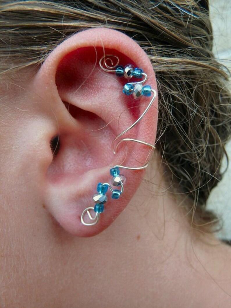 Elegant Ear Cuff Turquoise & Silver Swarovski Crystal image 0