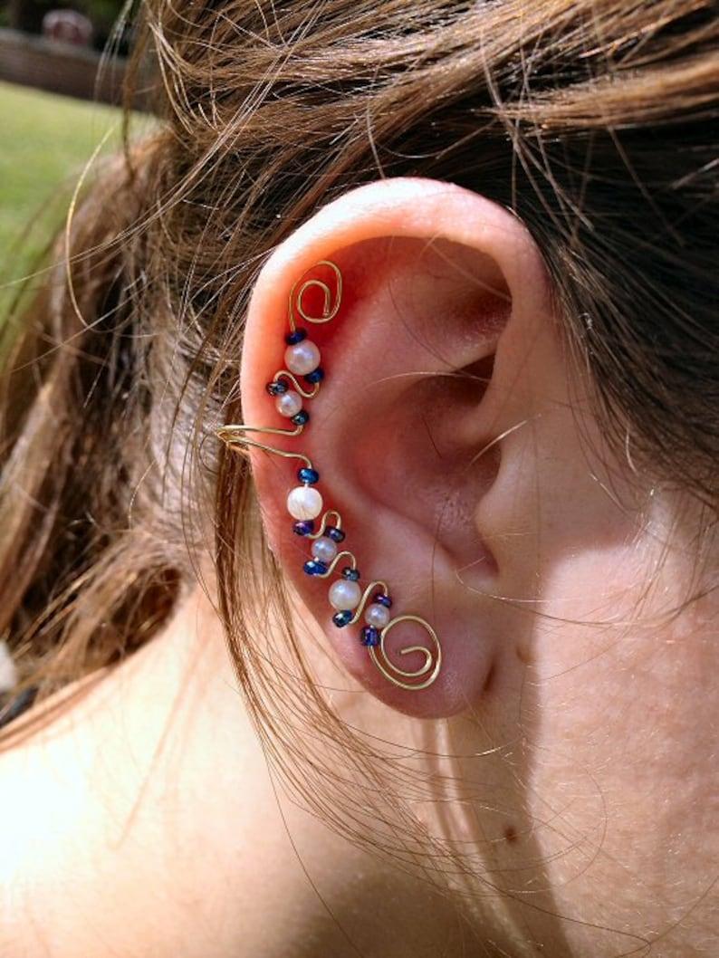 Elegant Ear Cuff Gold Blue & Pearl image 0