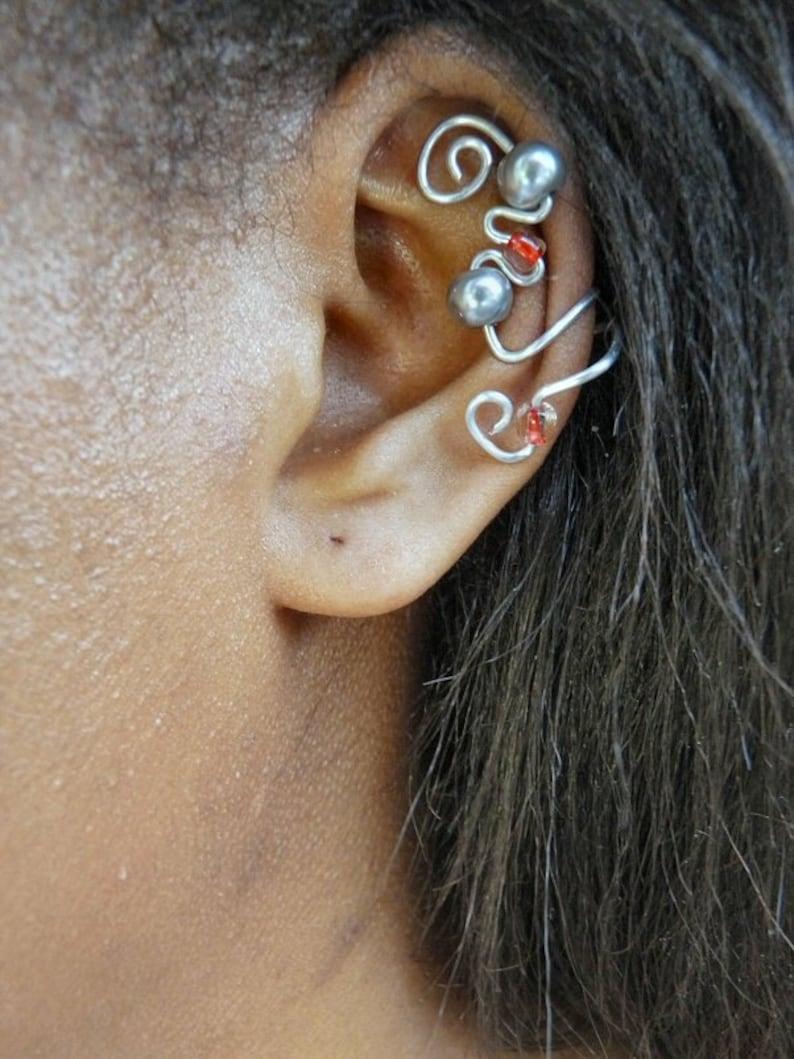 Elegant Ear Cuff Silver Gray & Red image 0