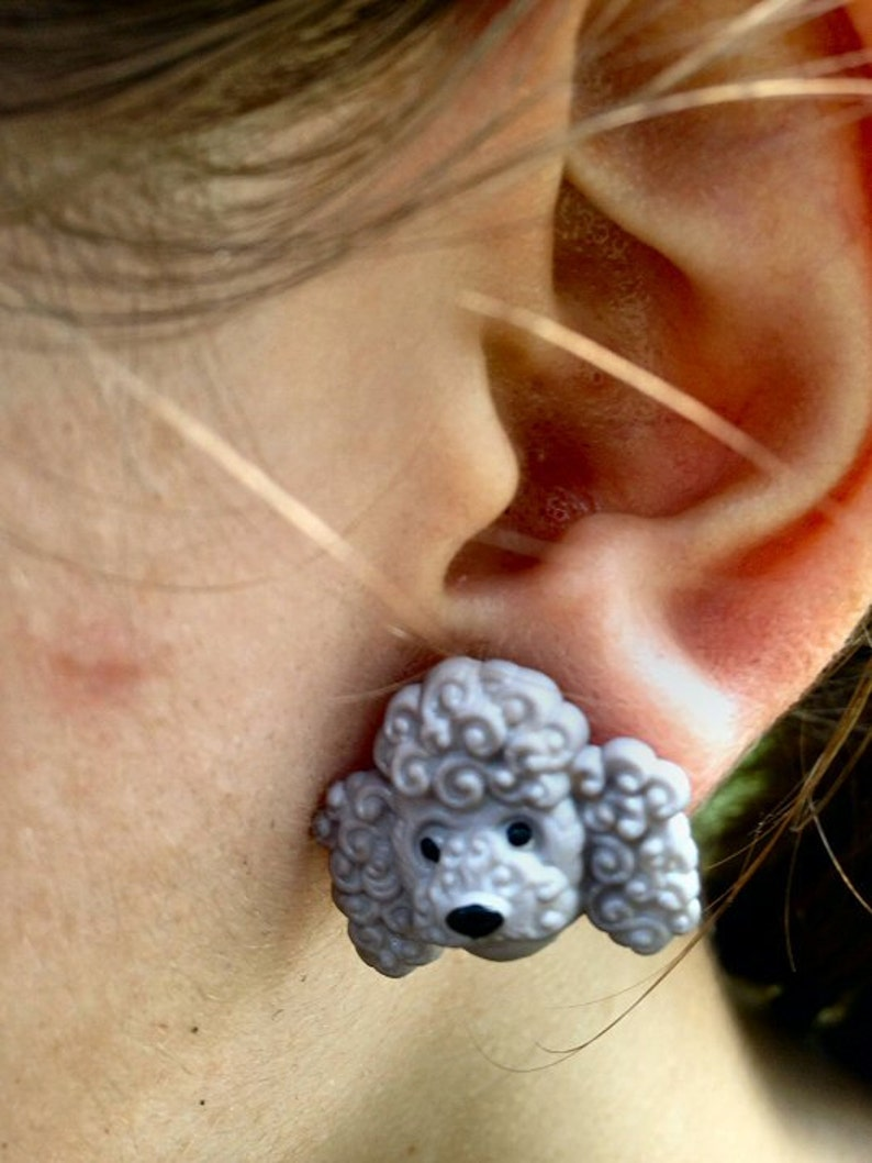 Gray Poodle Dog Post Earrings image 0