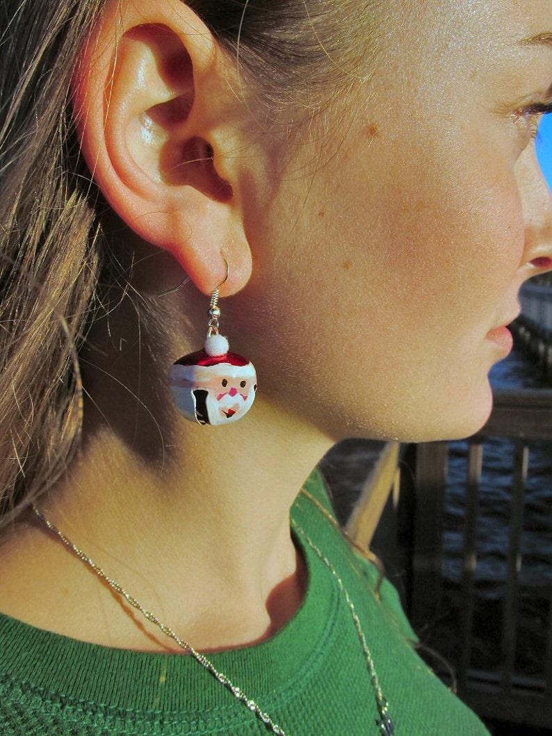 Santa Claus Jingle Bell Earrings image 0