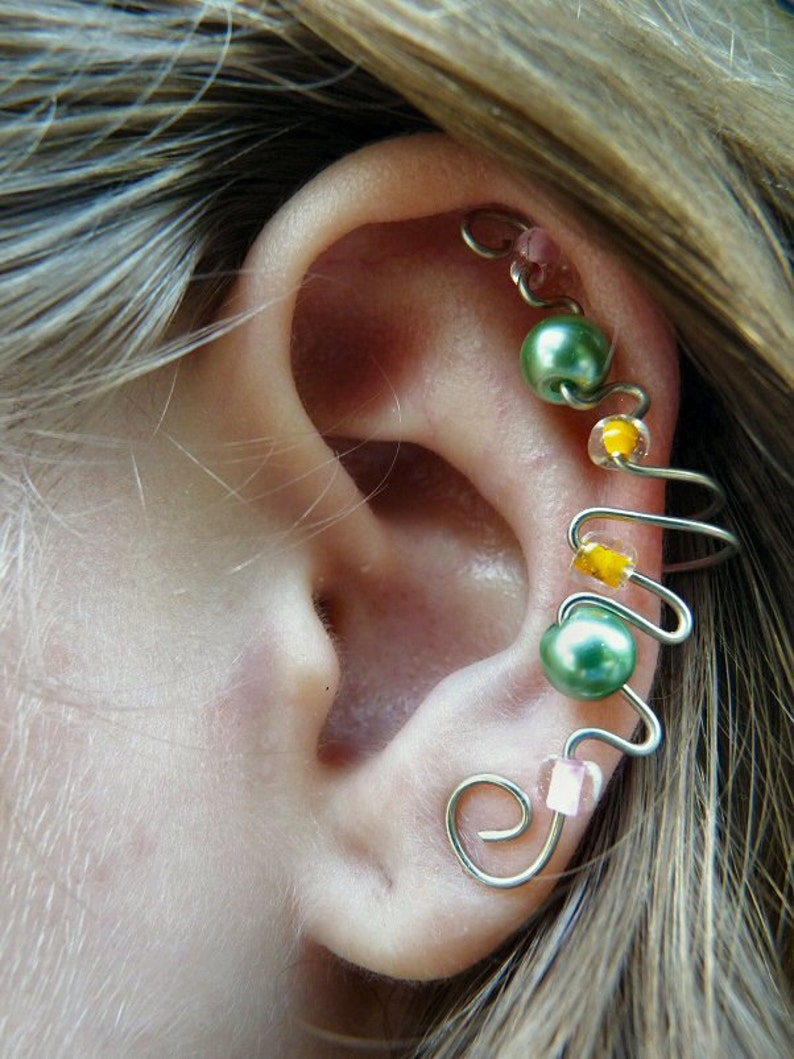 Elegant Ear Cuff Green Pearl Orange & Pink image 0