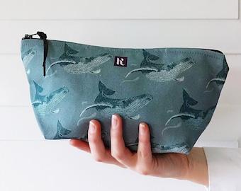 Aqua Whale Oceanic Change Purse Wallet Vegan makeup Bag