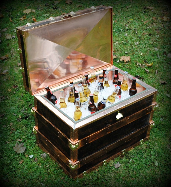 Cooler, Ice Chest, Steamer Trunk Style made from Reclaimed Wood/Copper/Brass, Handmade