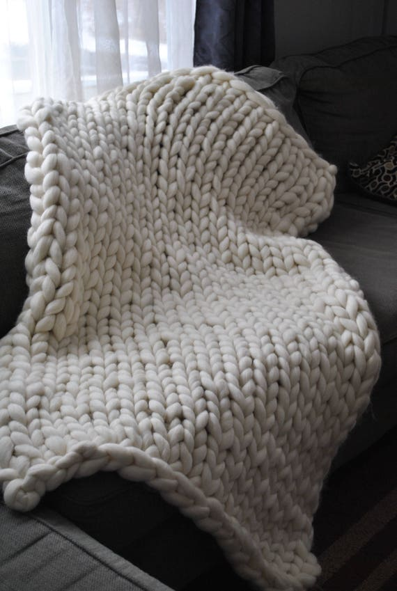 Chunky Knit Blanket, Merino Wool, Handmade, Arm Knit, Roving Merino Wool