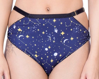 POPPY RPET high cut panties / knickers - wrap design in unique star and space print recycled RPET fabric, sustainable handmade lingerie