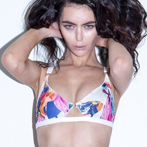 supportive wings VENUS soft cup bra demi cup bralette in your choice of printed fabrics sustainable handmade lingerie sheer mesh panels