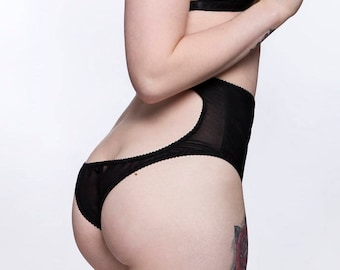 MIDNIGHT high waisted peep bum panties / knickers in sheer see through black power mesh, handmade lingerie - ethical clothing to order
