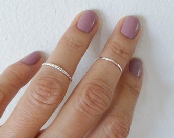 Set of 2 Sterling Silver Knuckle Rings For Women Midi Rings Dainty Mini Rings For Her Under 20