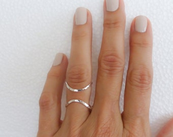 Size 8 Sterling Silver Ring For Women Hammered Ring Adjustable Handmade Jewelry For Her