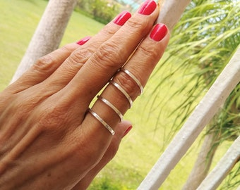Sterling Silver Ring//Long Flat Coil Ring//Index Ring// Hammered Ring//Handmade Jewelry//Women Rings